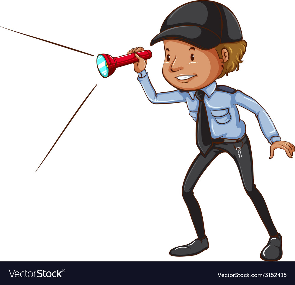 A sketch of a security guard with a flashlight vector | Price: 1 Credit (USD $1)