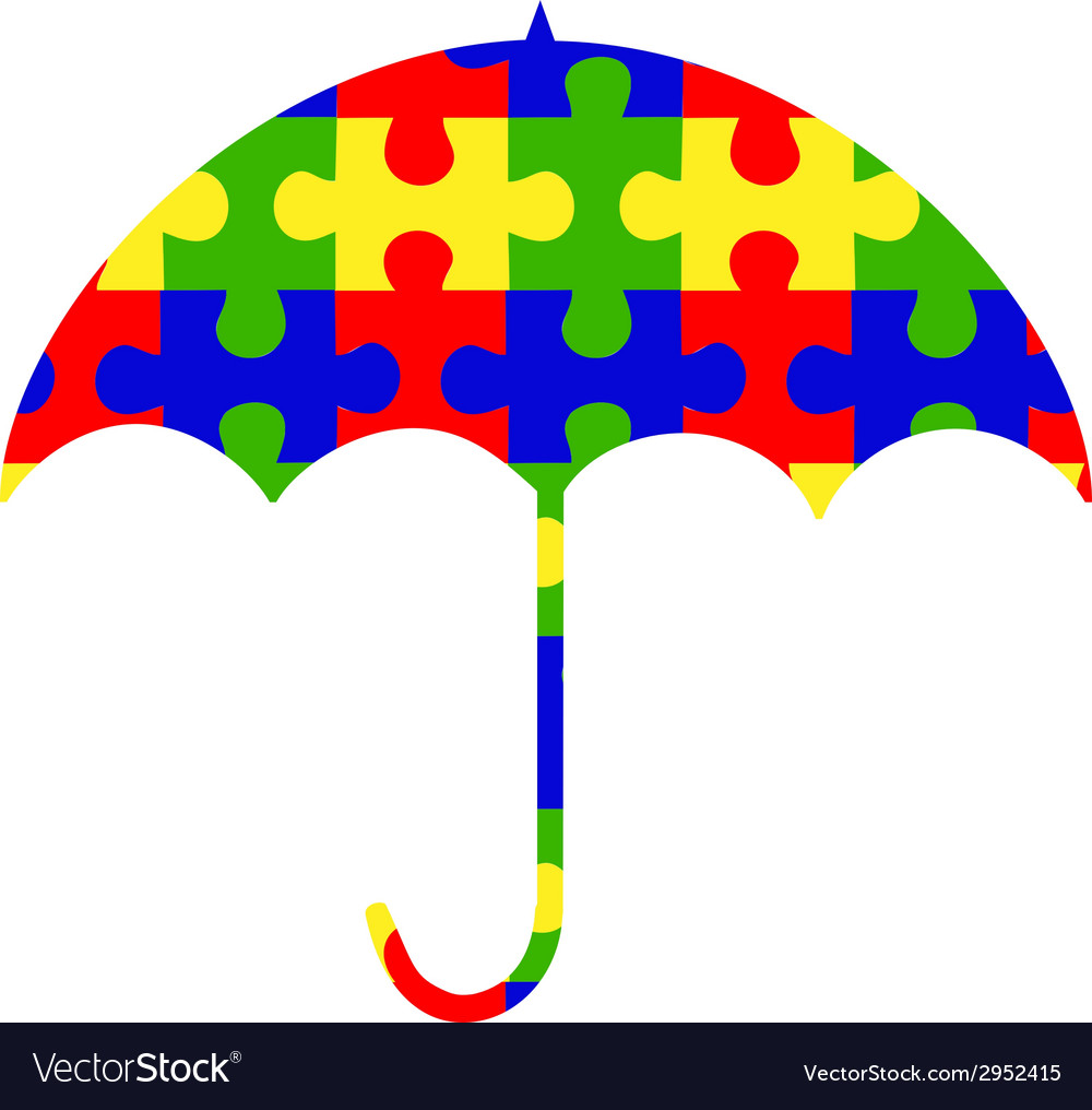 Autism umbrella clip-art logo vector | Price: 1 Credit (USD $1)