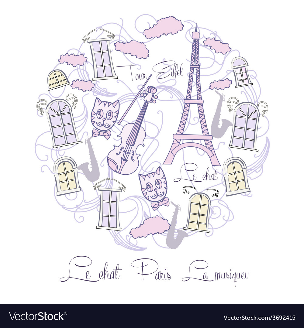 Background with tour eiffel and saxophone vector | Price: 1 Credit (USD $1)