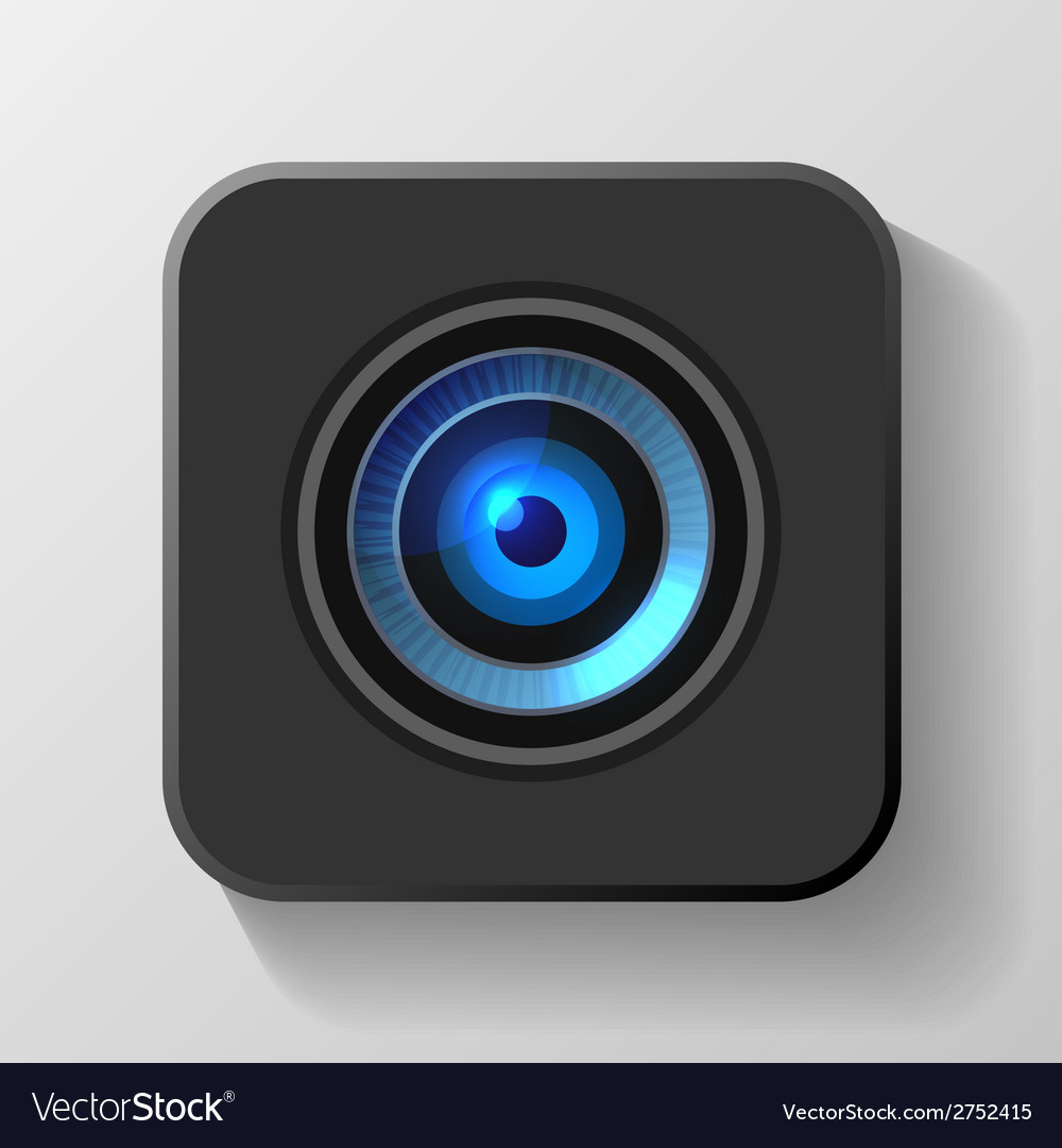 Blue camera lens icon on black vector | Price: 1 Credit (USD $1)