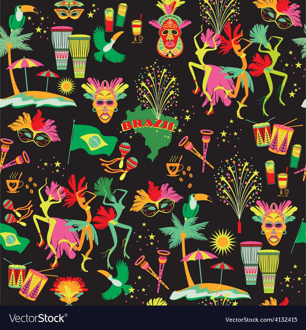 Brazilian carnival seamless pattern vector   Price: 1 Credit (USD $1)
