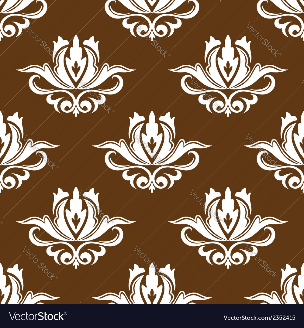 Brown and white floral seamless pattern vector | Price: 1 Credit (USD $1)