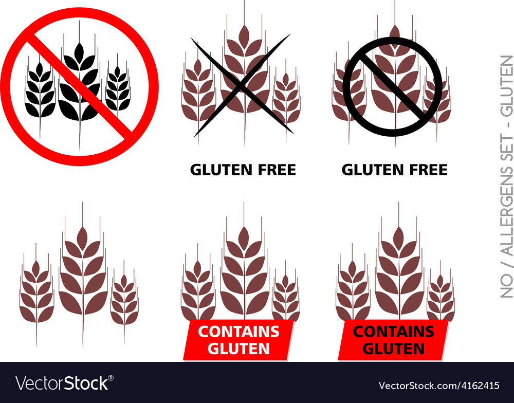 Brown gluten free signs isolated on white b vector | Price: 1 Credit (USD $1)