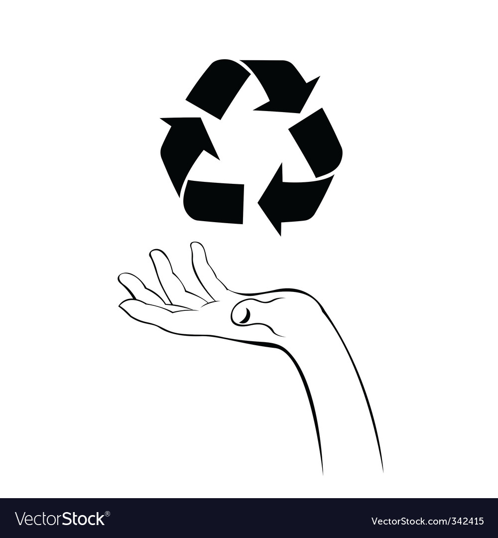 Caring hand with recycle icon vector | Price: 1 Credit (USD $1)