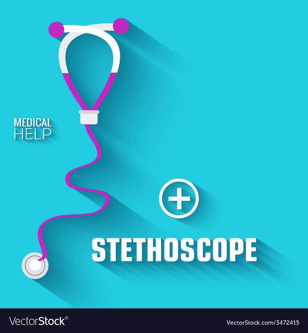 Flat medical stethoscope background concept vector | Price: 1 Credit (USD $1)