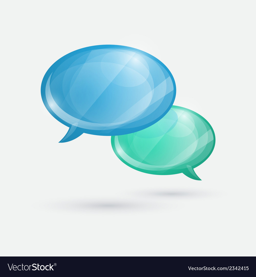 Glossy speech bubbles icon on white background vector   Price: 1 Credit (USD $1)