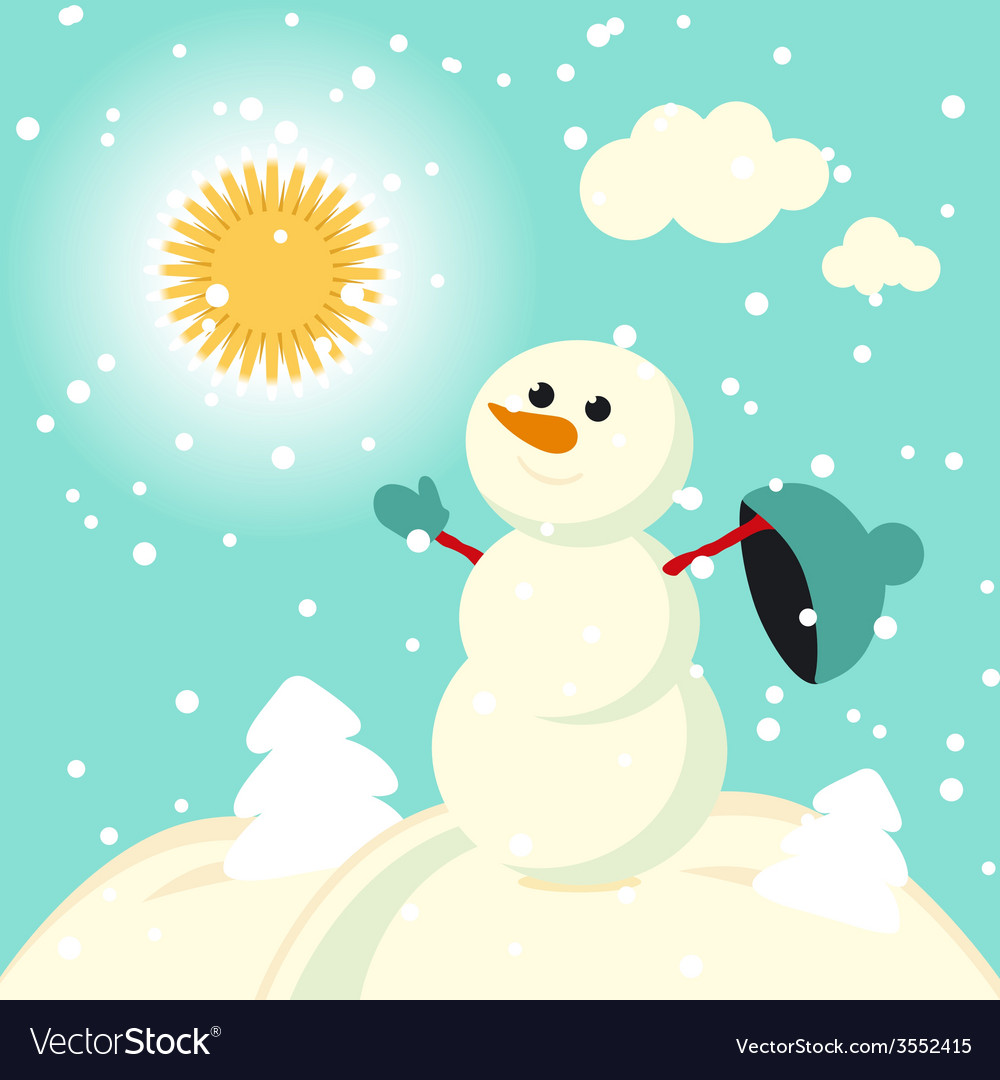 Happy kids playing with snow retro christmas card vector | Price: 1 Credit (USD $1)