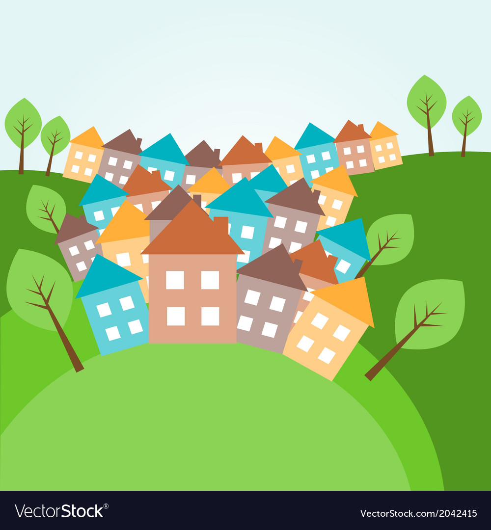 Hilly landscape with houses vector | Price: 1 Credit (USD $1)