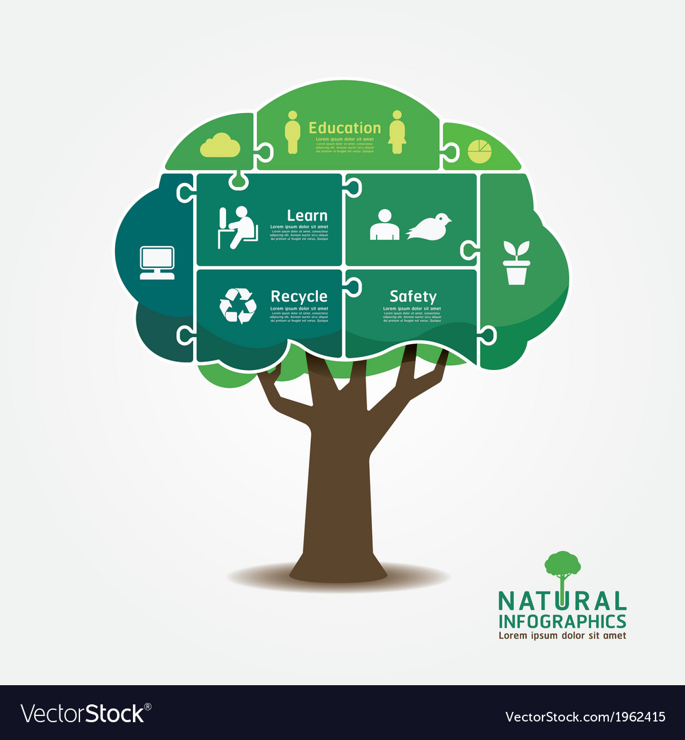 Infographic green tree jigsaw banner vector | Price: 1 Credit (USD $1)