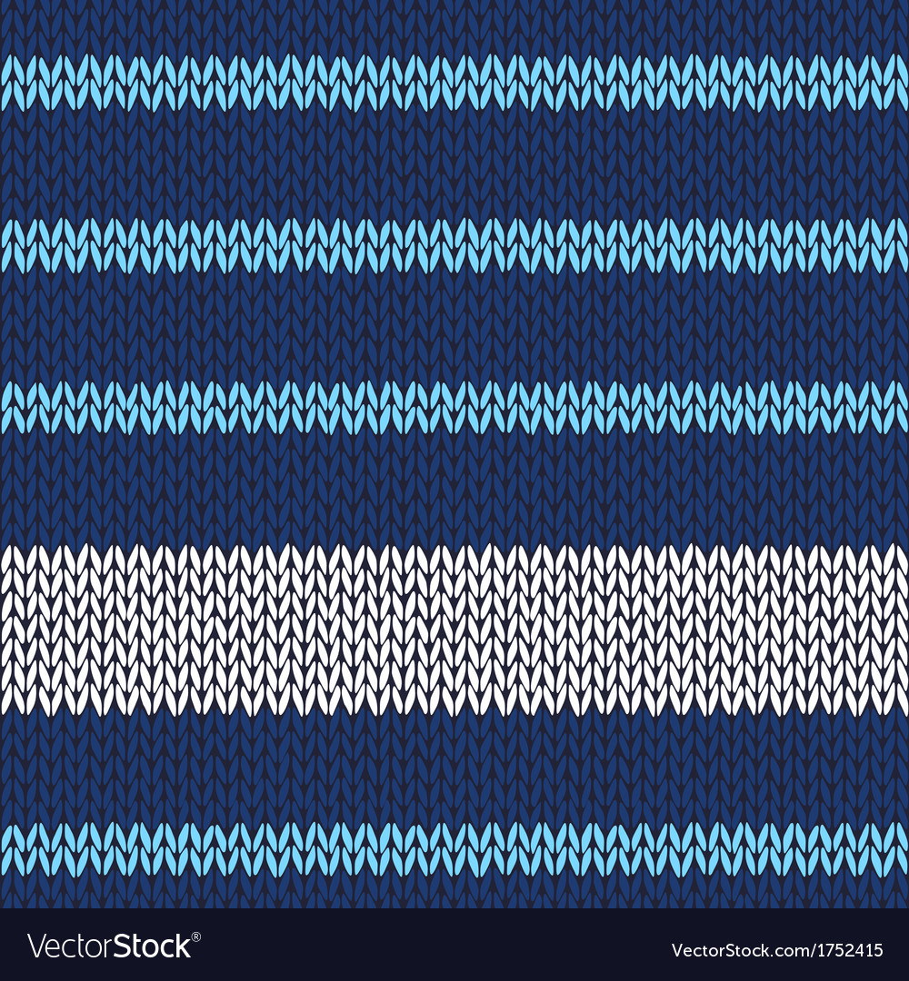 Seamless knitted pattern with blue white stripes vector | Price: 1 Credit (USD $1)