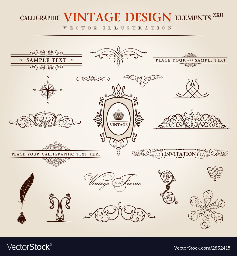 Set calligraphic vintage elements and page vector | Price: 1 Credit (USD $1)