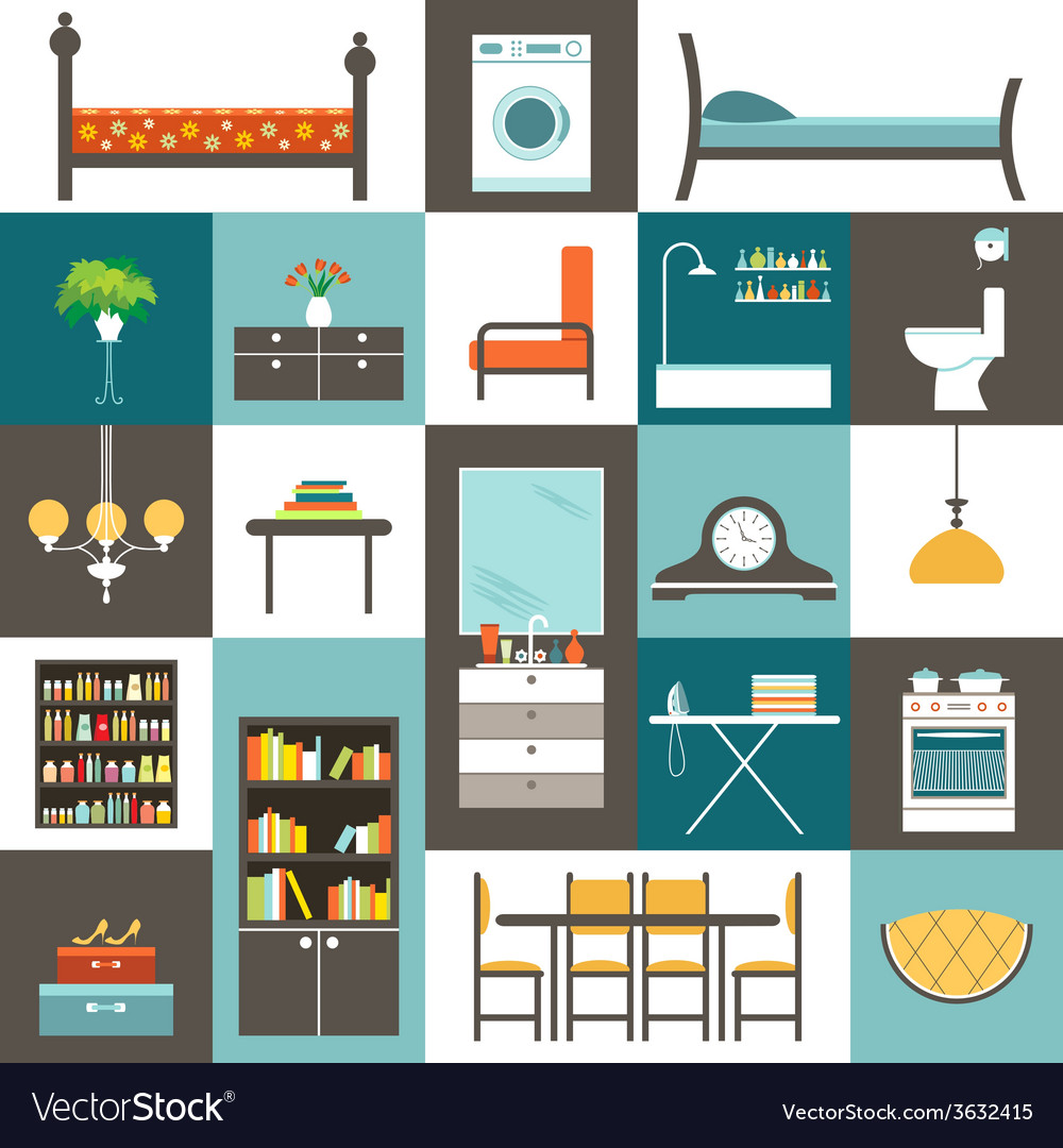 Set furniture vector | Price: 1 Credit (USD $1)