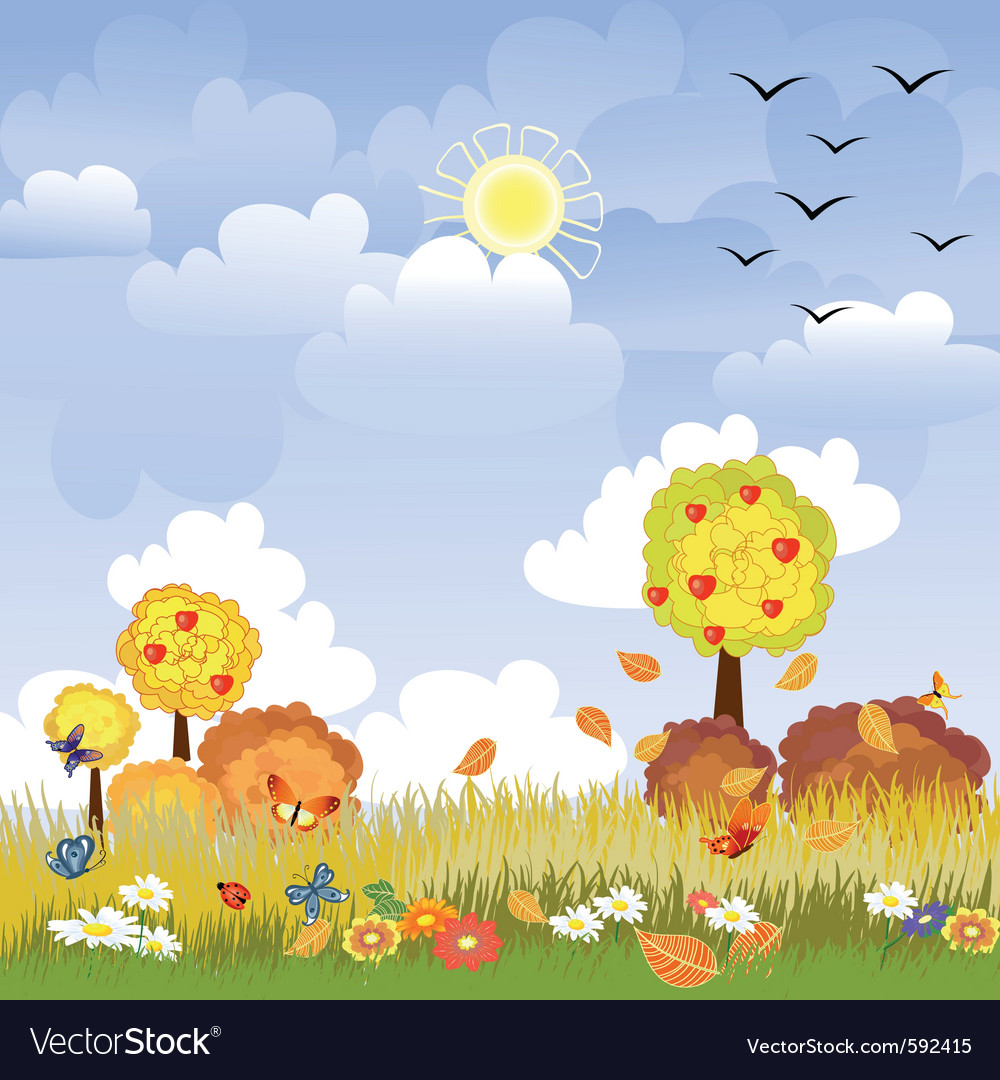 Sunny autumn landscape vector | Price: 1 Credit (USD $1)