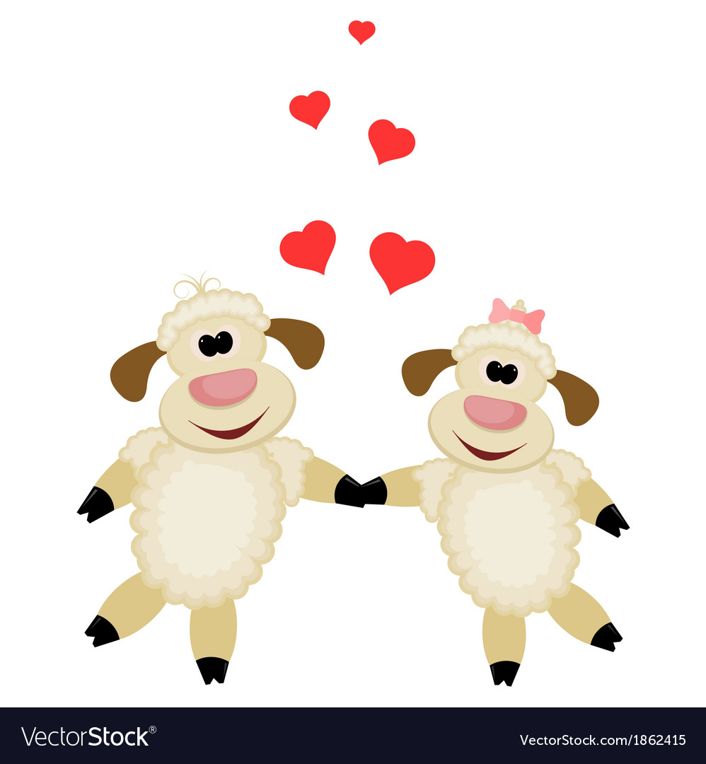 Two cute lamb lovers on a white background vector | Price: 1 Credit (USD $1)