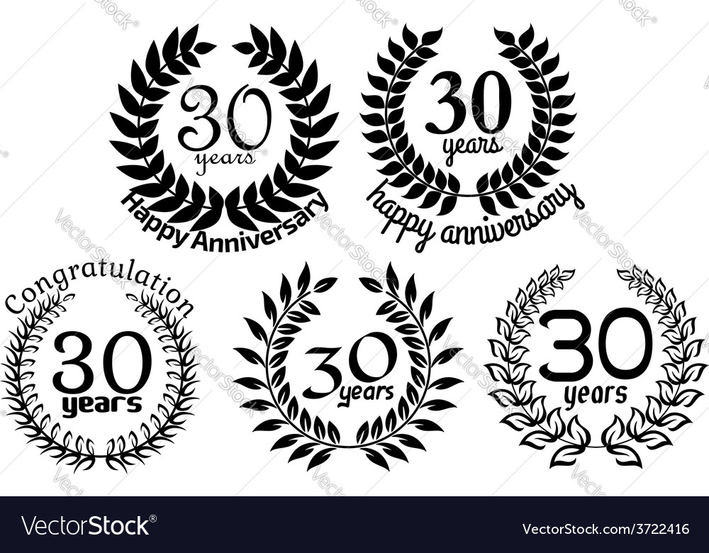 Anniversary laurel wreaths 30 years vector | Price: 1 Credit (USD $1)