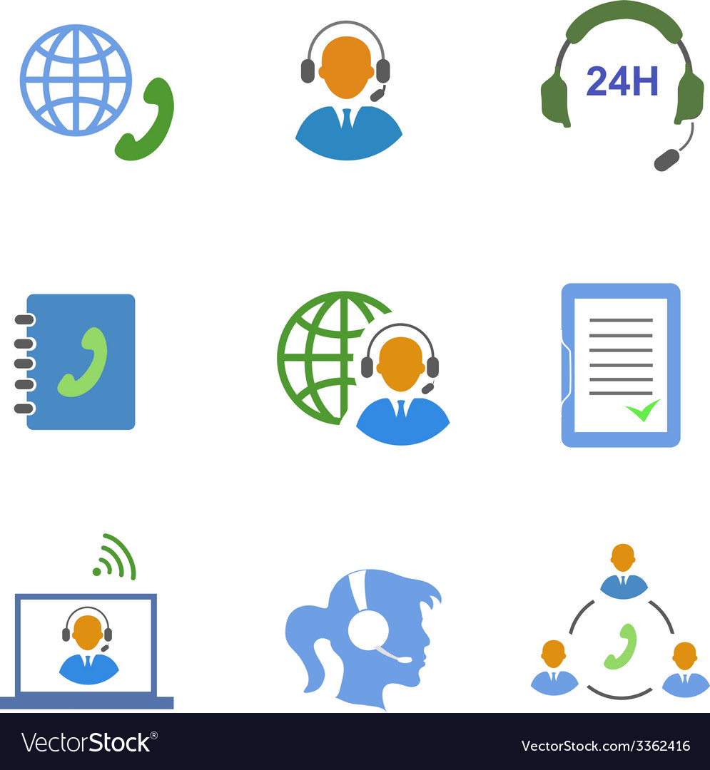 Call center service icons set of contacts mobile vector | Price: 1 Credit (USD $1)