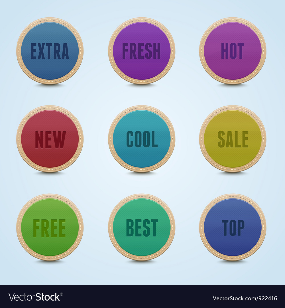 Detailed rounded stickers vector | Price: 1 Credit (USD $1)