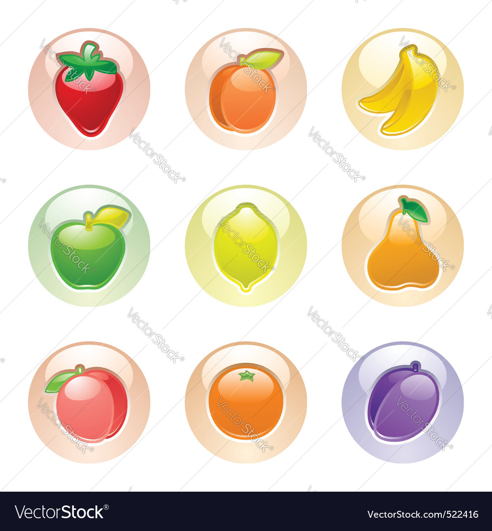 Fruits button gray web 20 icons vector | Price: 3 Credit (USD $3)