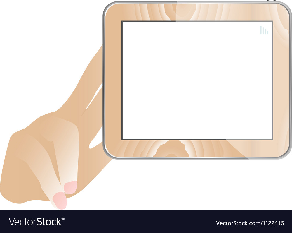 Hand and tablet computer with empty monitor vector | Price: 1 Credit (USD $1)