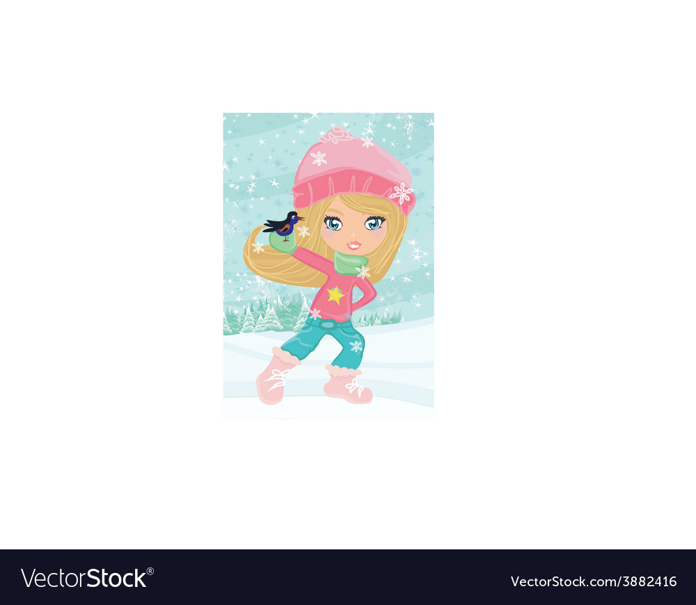 Little girl holding a bird vector   Price: 1 Credit (USD $1)