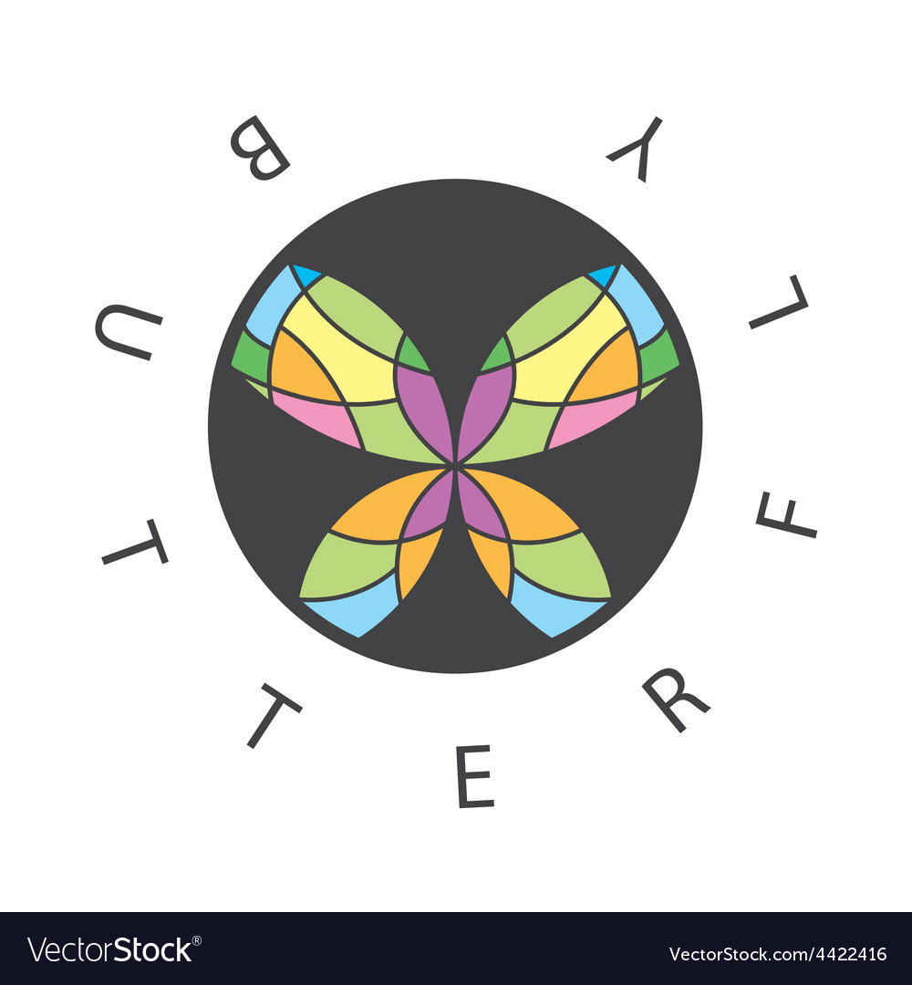 Logo abstract butterfly in the circle vector | Price: 1 Credit (USD $1)