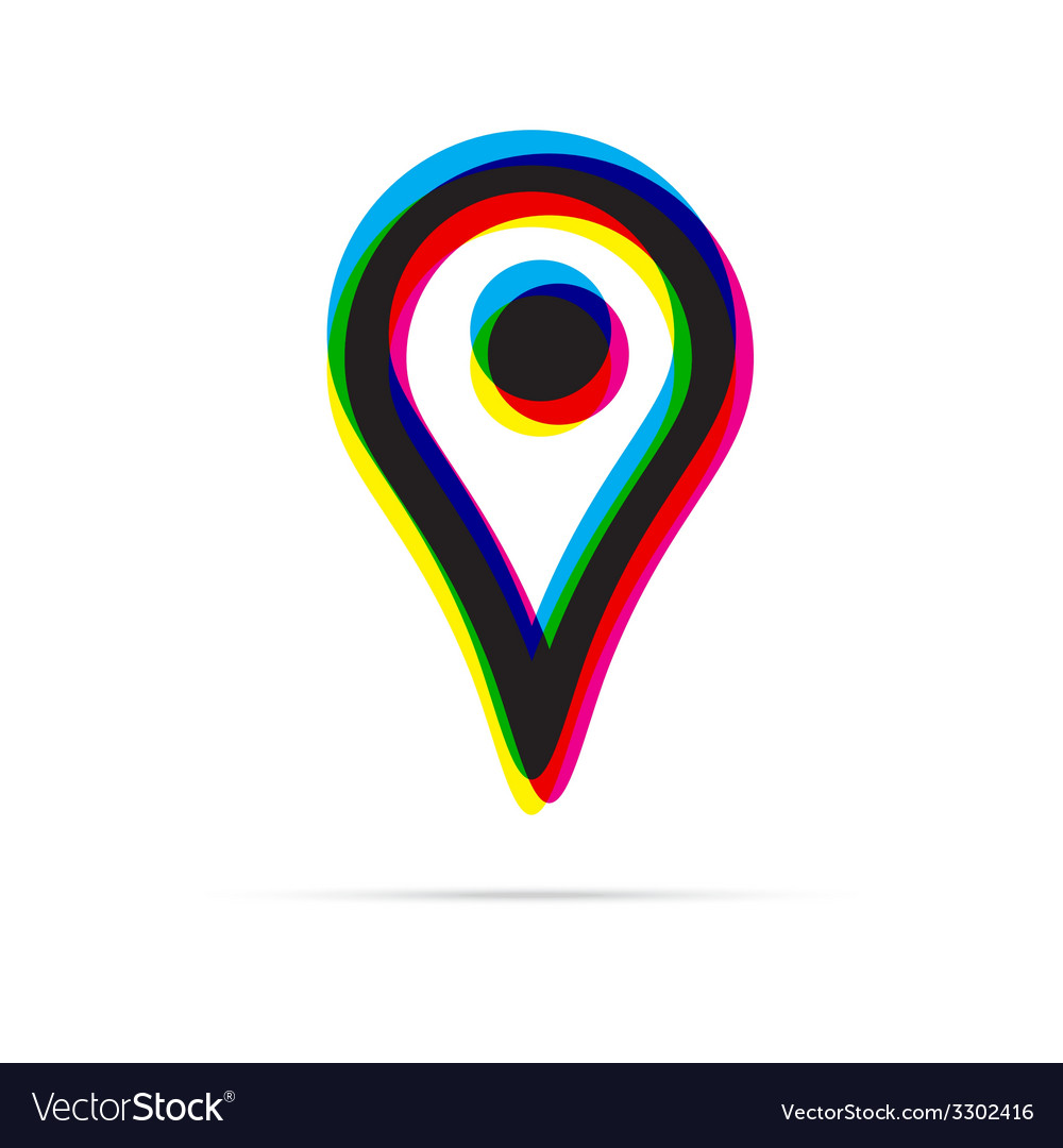 Map pointer icon with shadow vector | Price: 1 Credit (USD $1)