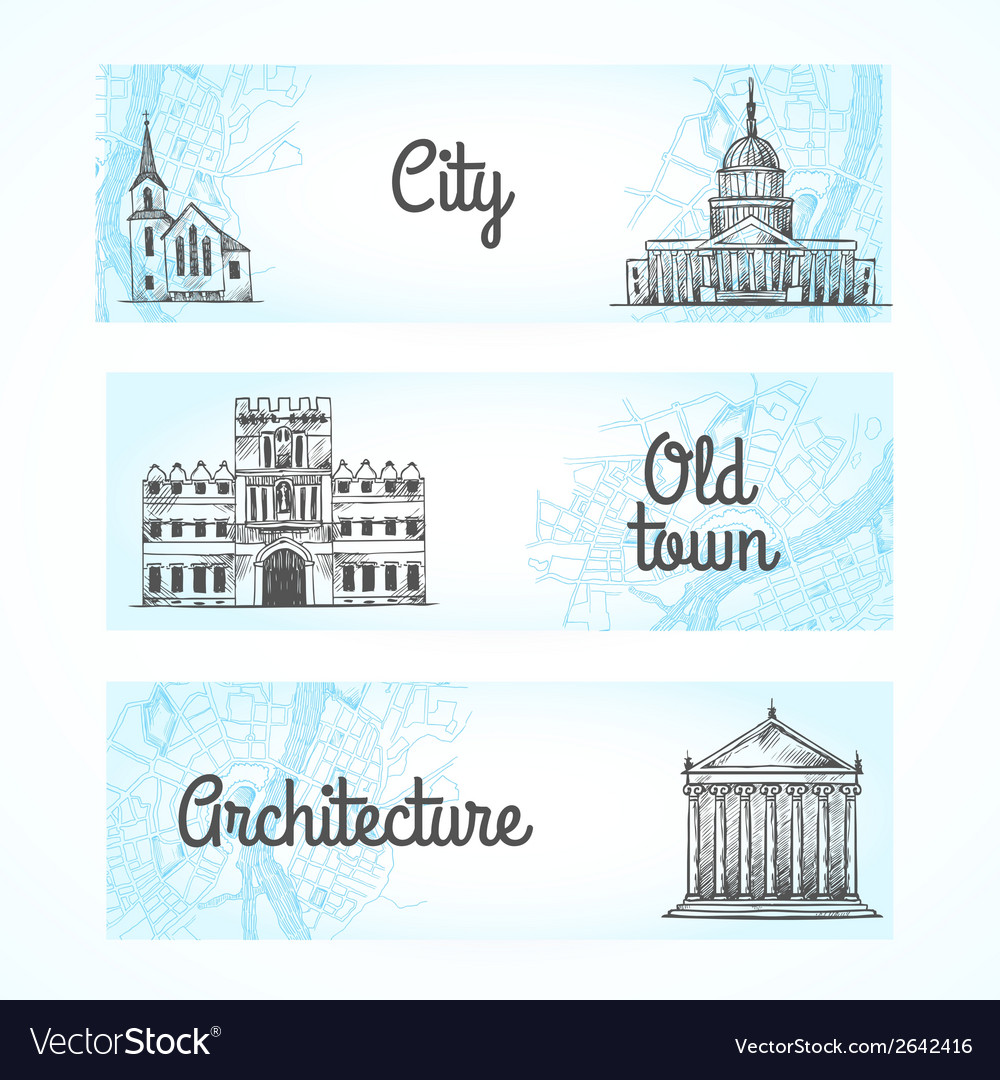 Set of banners with buildings vector | Price: 1 Credit (USD $1)