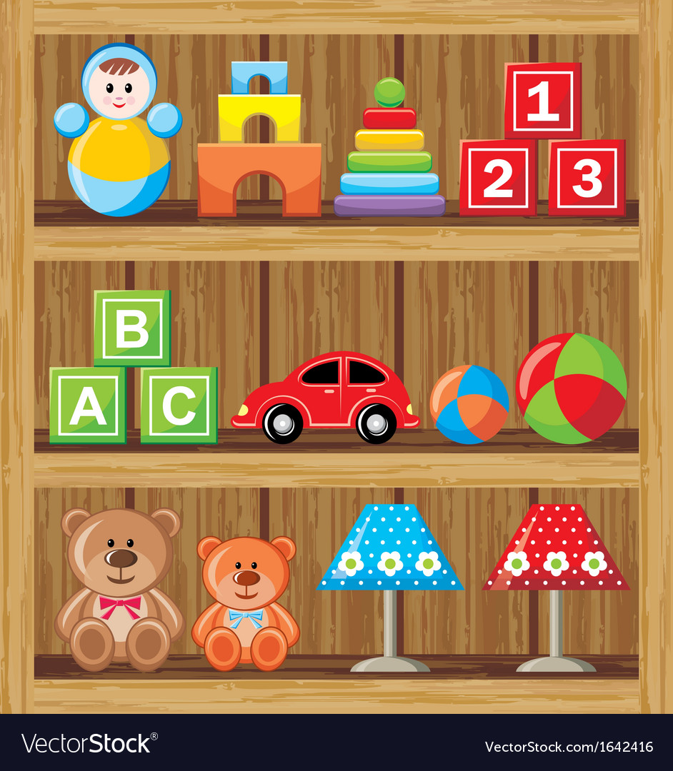 Shelfs with toys vector | Price: 1 Credit (USD $1)