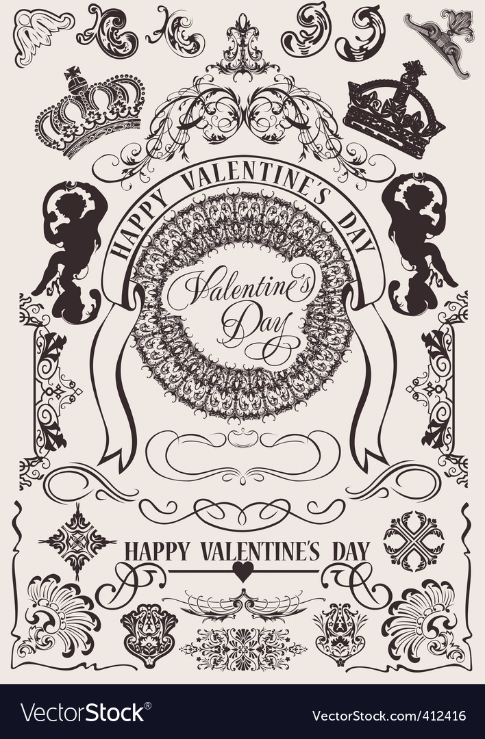 Valentine's design elements vector | Price: 1 Credit (USD $1)