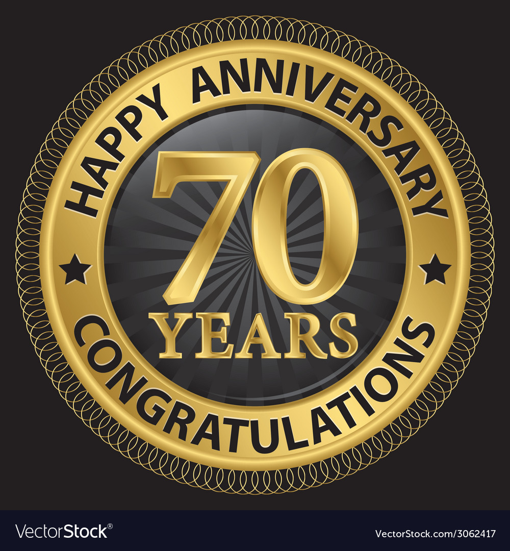 70 years happy anniversary congratulations gold vector | Price: 1 Credit (USD $1)