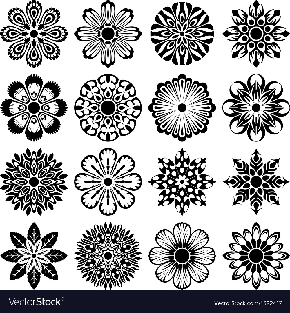 Decor flowers set vector | Price: 1 Credit (USD $1)