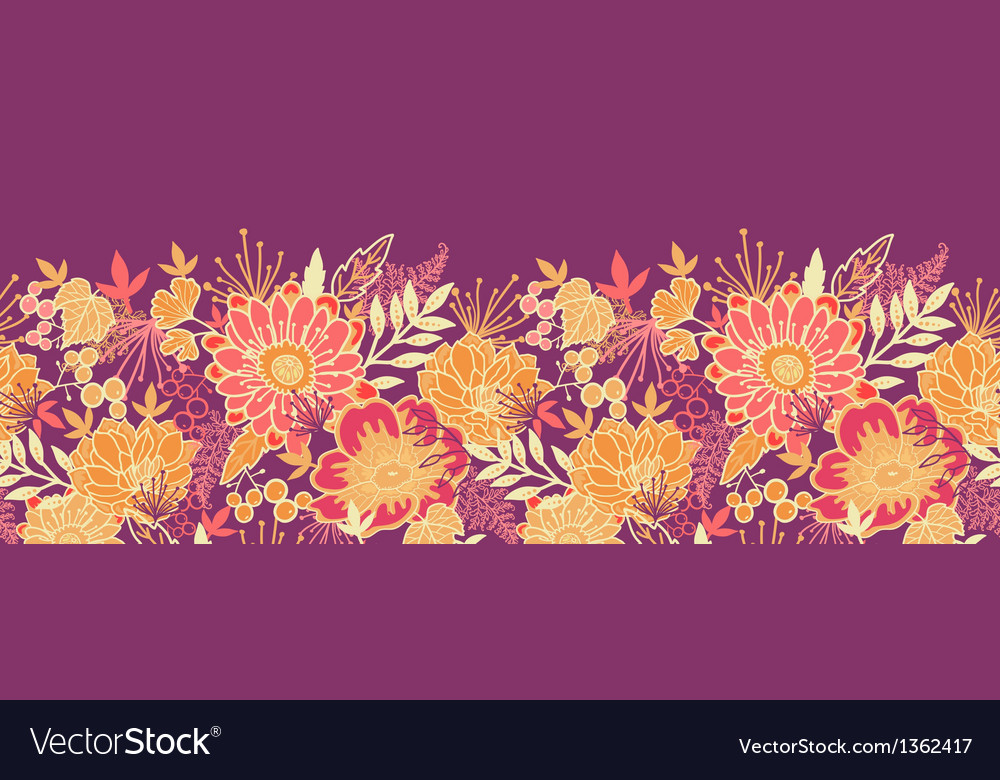 Fall flowers and leaves horizontal seamless vector | Price: 1 Credit (USD $1)