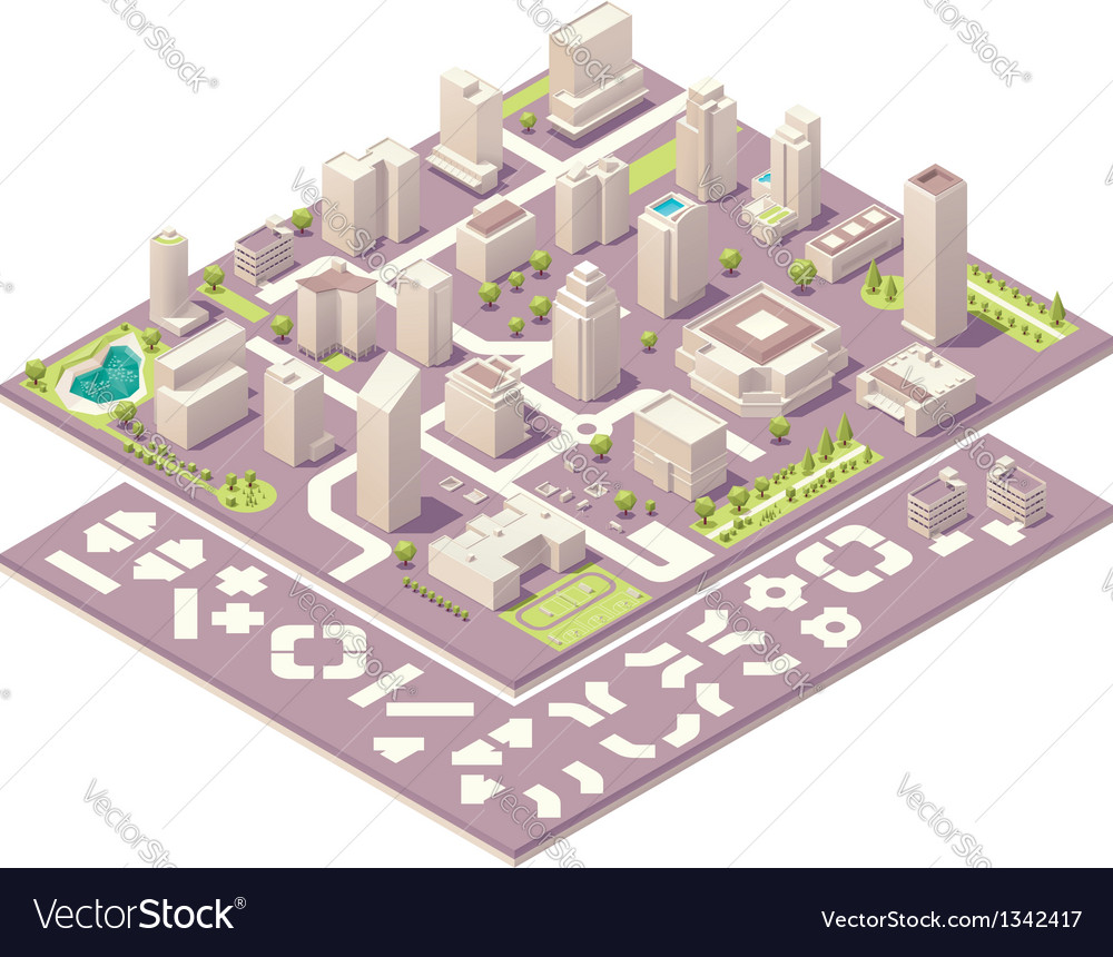 Isometric city map creation kit vector | Price: 3 Credit (USD $3)