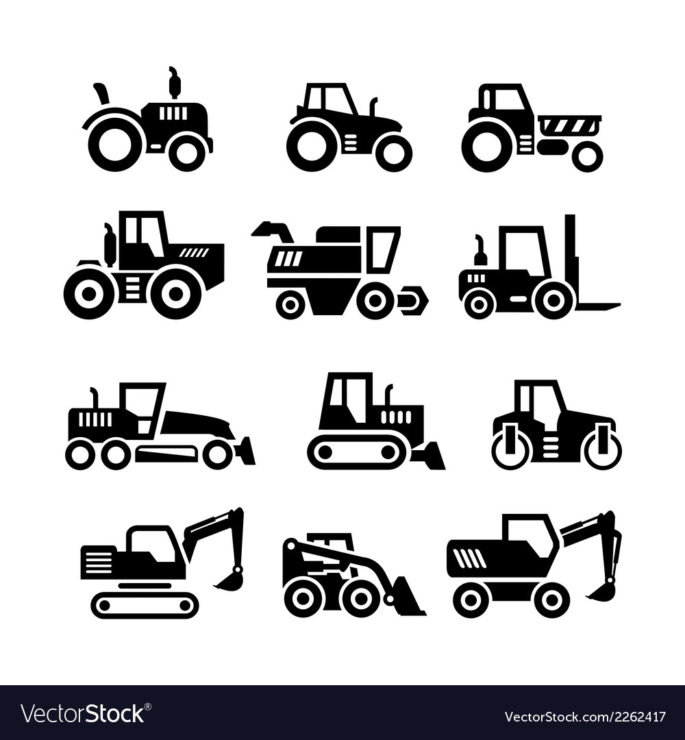 Set icons of tractors farm and buildings machines vector
