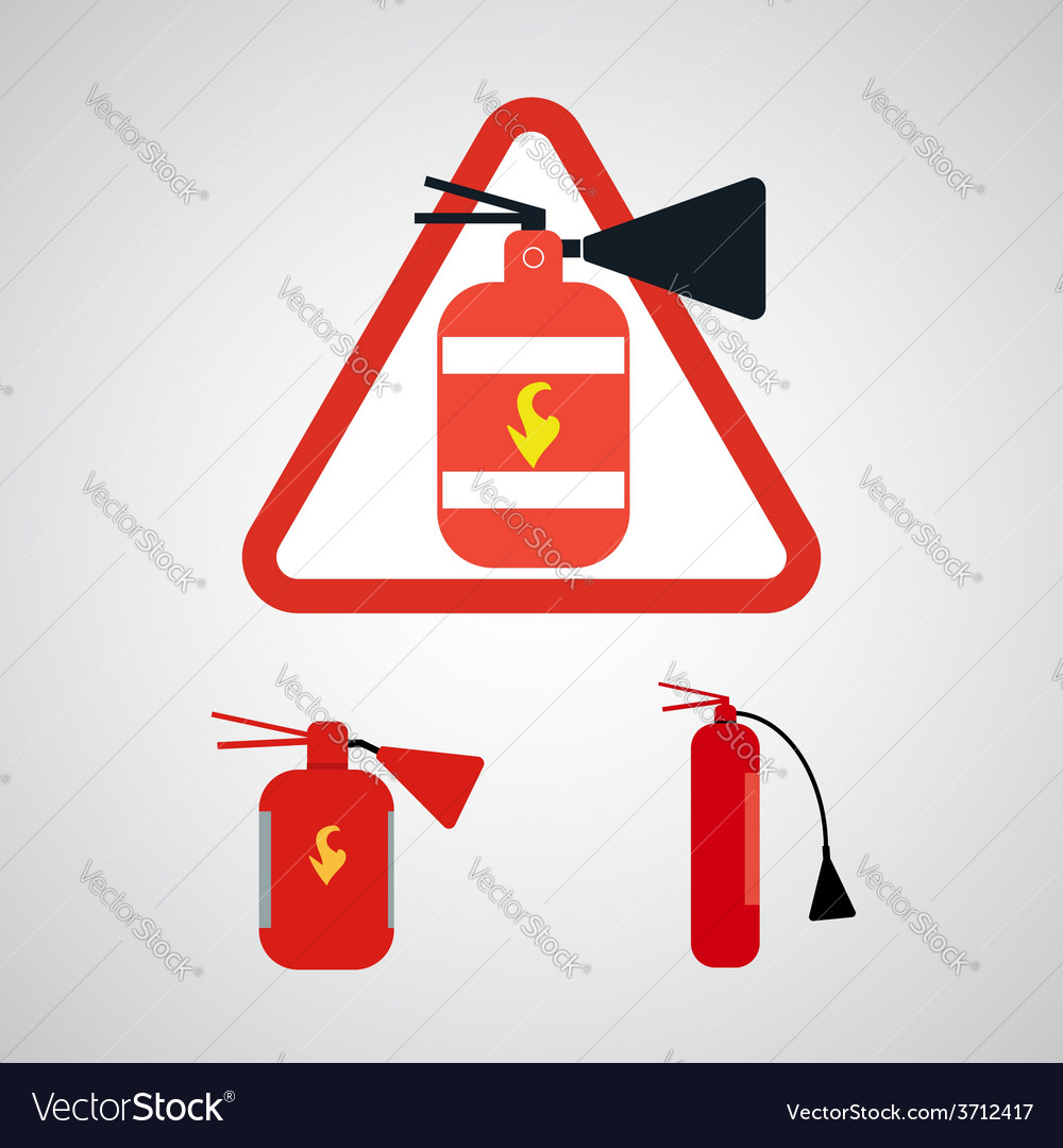 Set of fire extinguishers isolated on silver backg vector | Price: 1 Credit (USD $1)