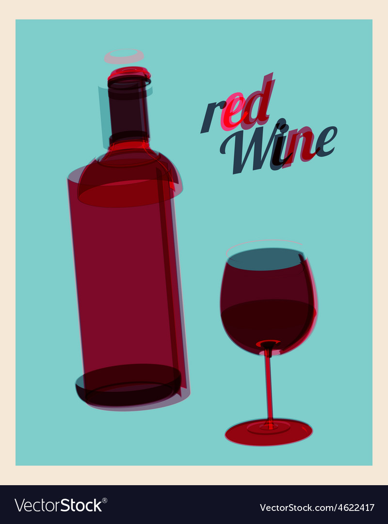 Vintage poster bottle of red wine and glass vector | Price: 1 Credit (USD $1)
