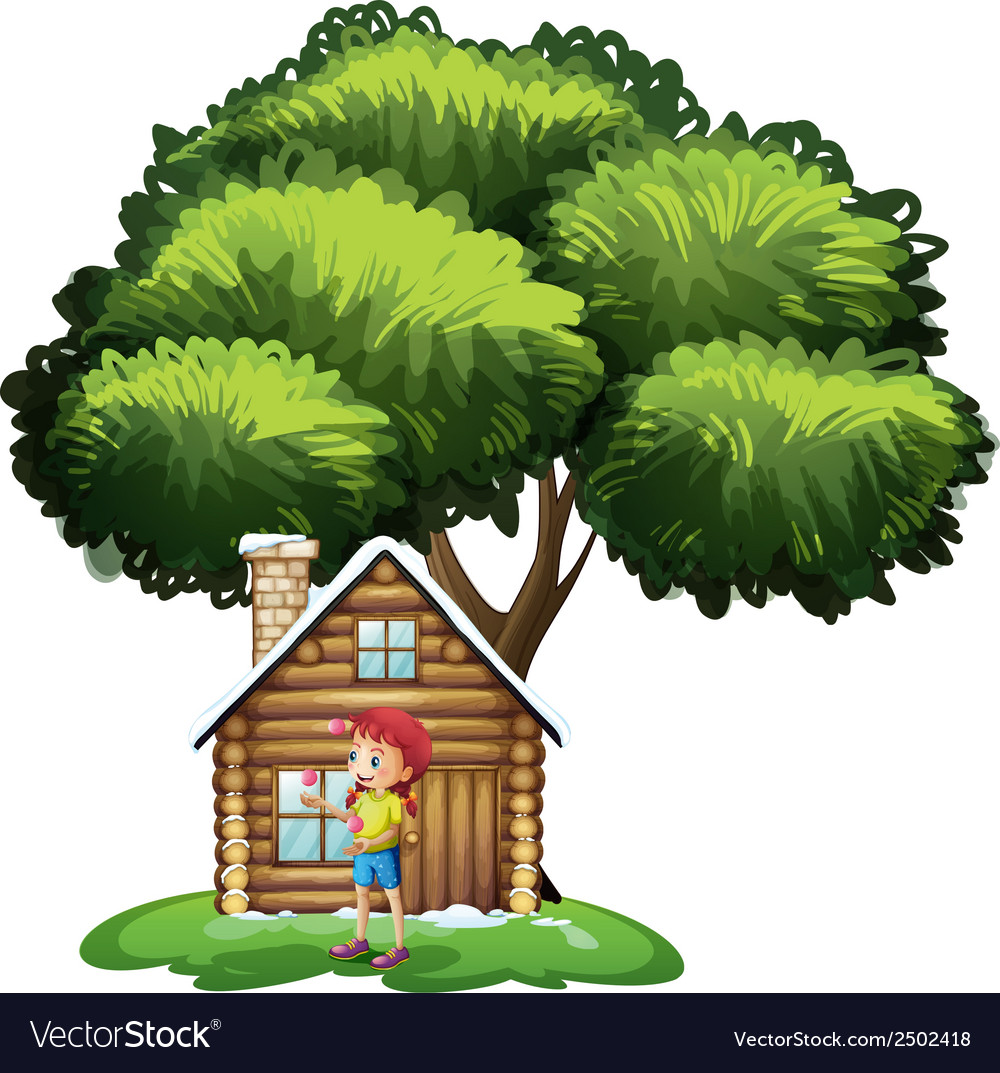 A house under the tree with a little girl playing vector | Price: 1 Credit (USD $1)