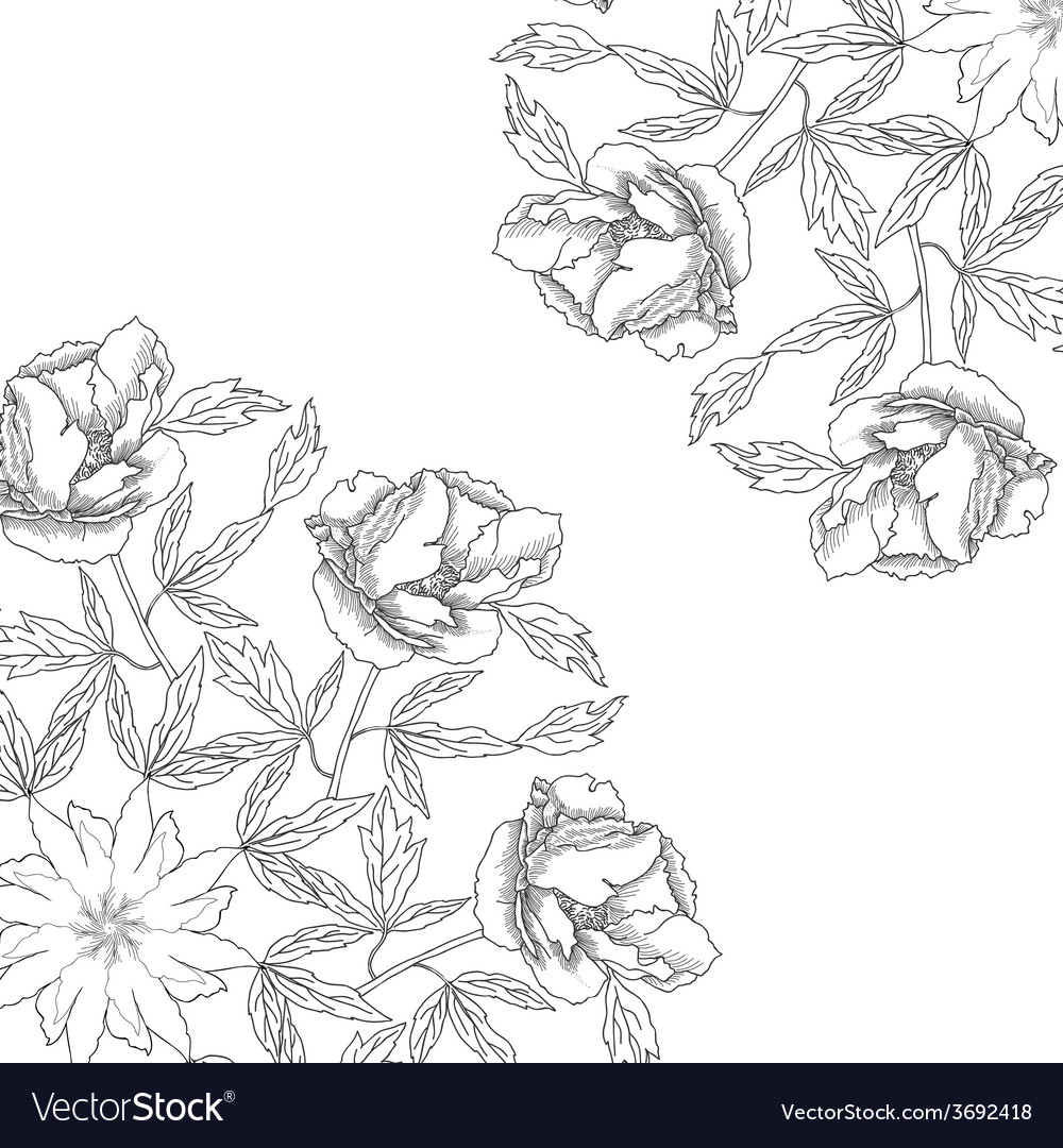 Background with ornamental round with peonyes vector | Price: 1 Credit (USD $1)