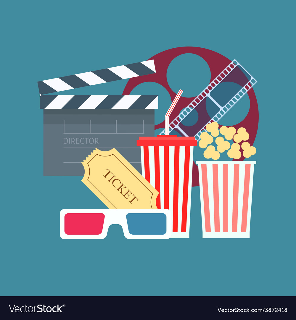 Cinema corn ticket juice 3d glasses flat design vector | Price: 1 Credit (USD $1)