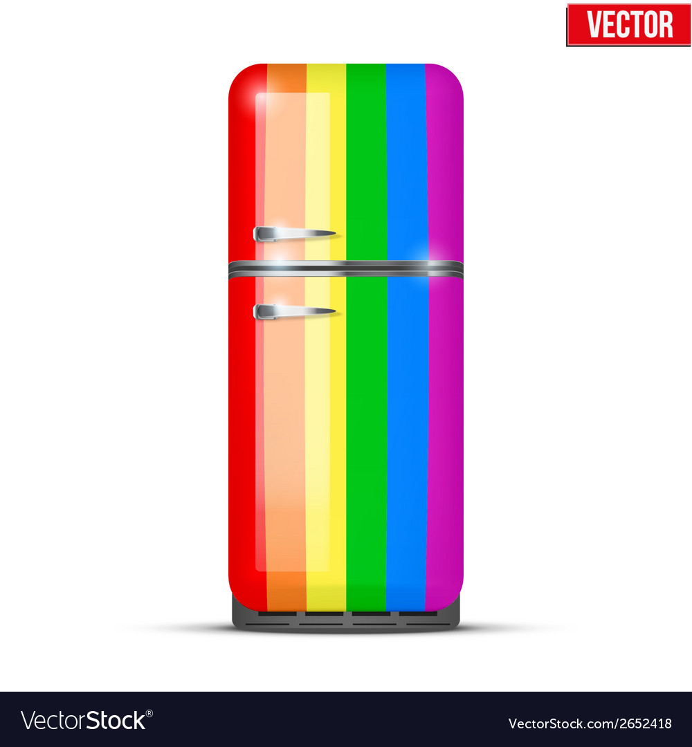 Classic rainbow fridge refrigerator isolated on vector | Price: 1 Credit (USD $1)