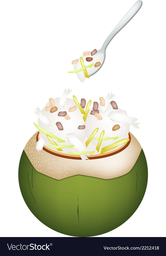 Coconut ice cream with nuts and jackfruit vector | Price: 1 Credit (USD $1)