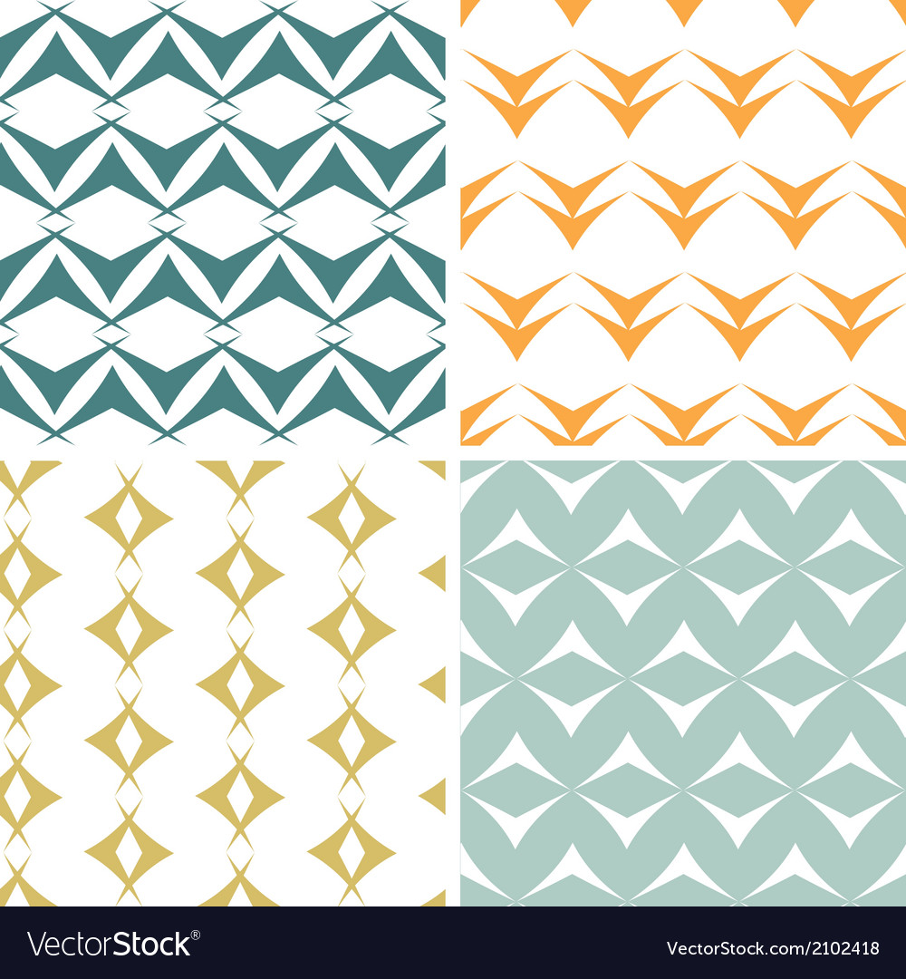 Four abstract arrow shapes seamless patterns set vector | Price: 1 Credit (USD $1)