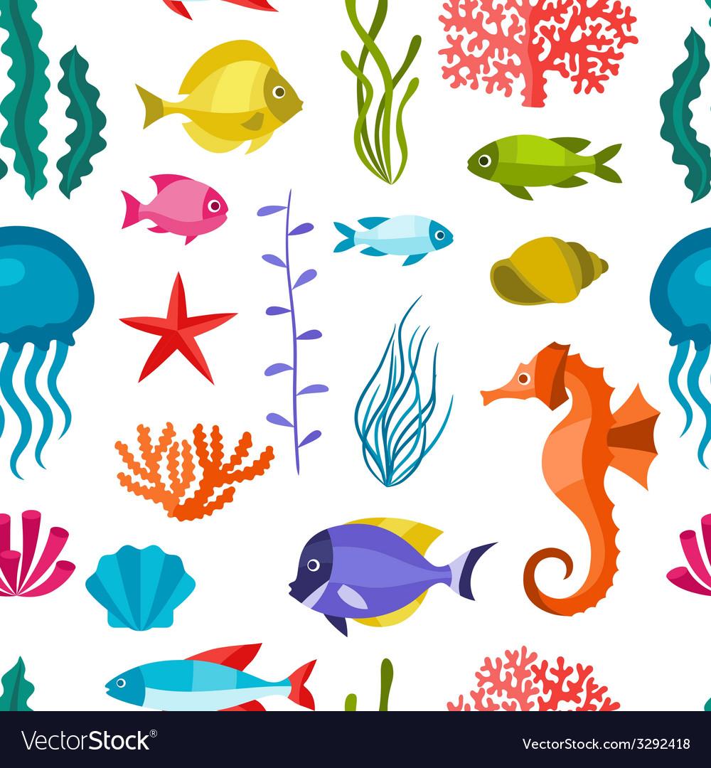 Marine life seamless pattern with sea animals vector   Price: 1 Credit (USD $1)