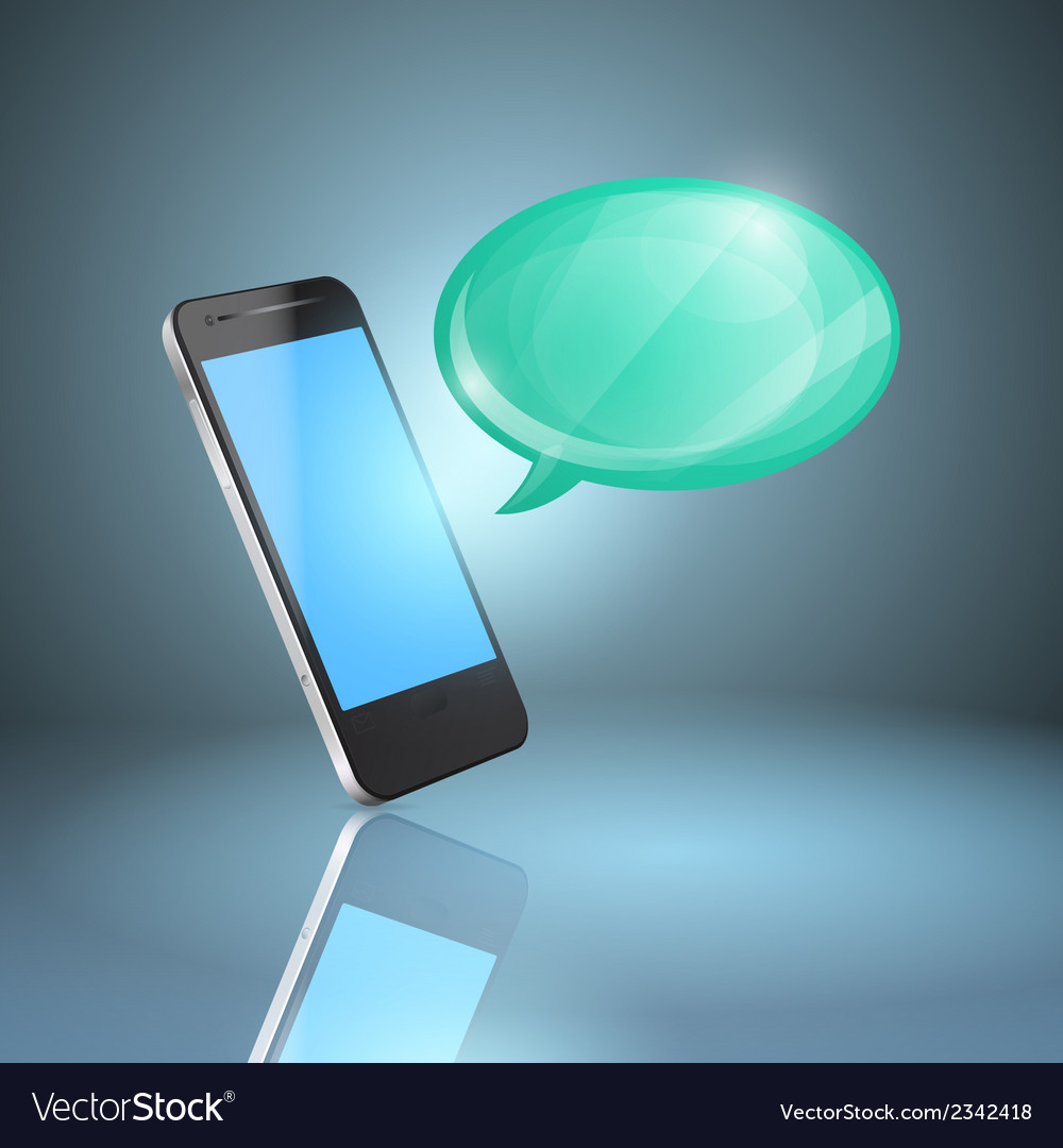 Mobile phone with glossy speech bubble vector | Price: 1 Credit (USD $1)