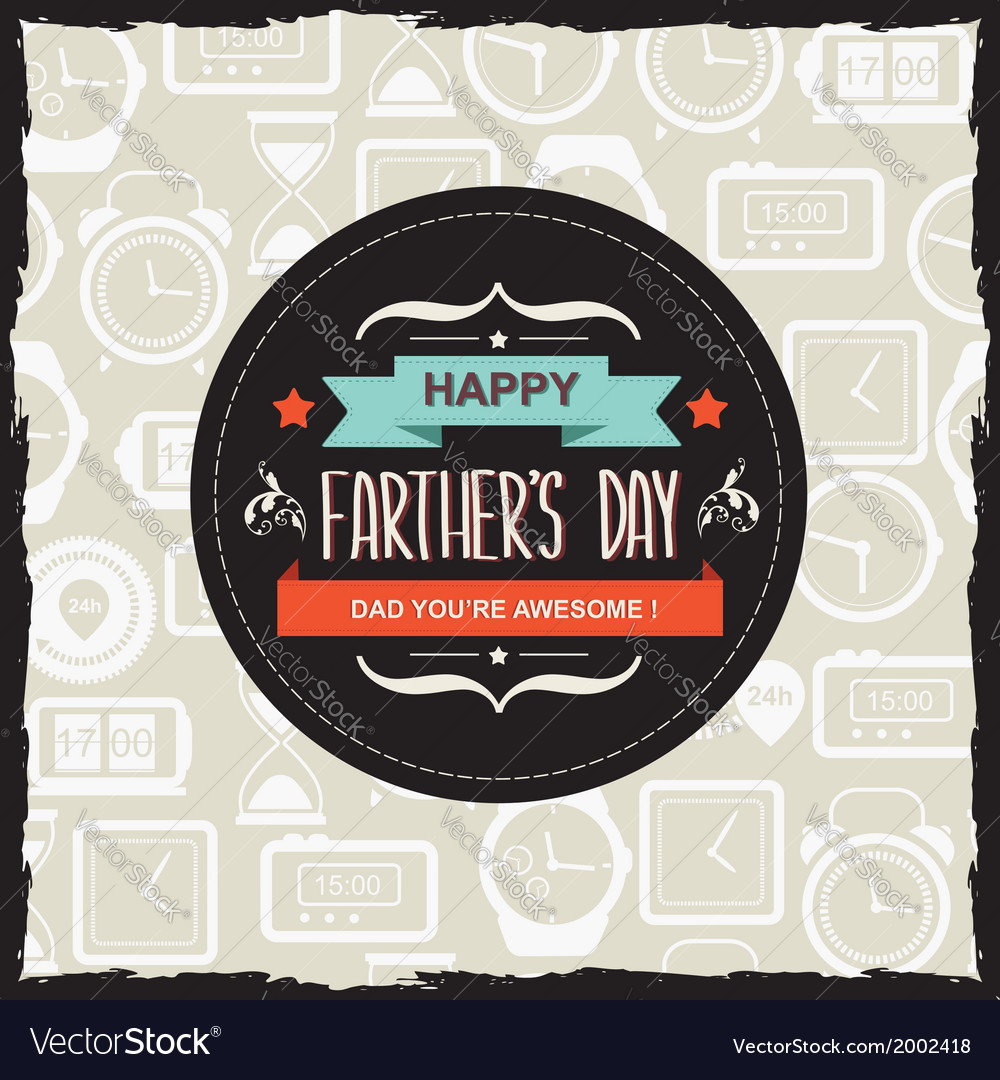 Poster happy farthers daytypography vector | Price: 1 Credit (USD $1)