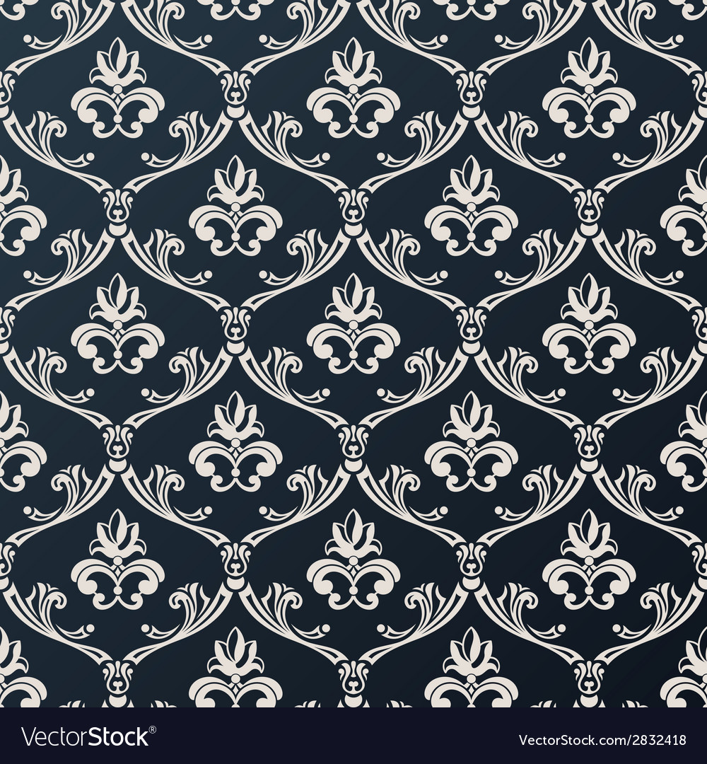 Seamless floral vintage wallpaper background black vector | Price: 1 Credit (USD $1)