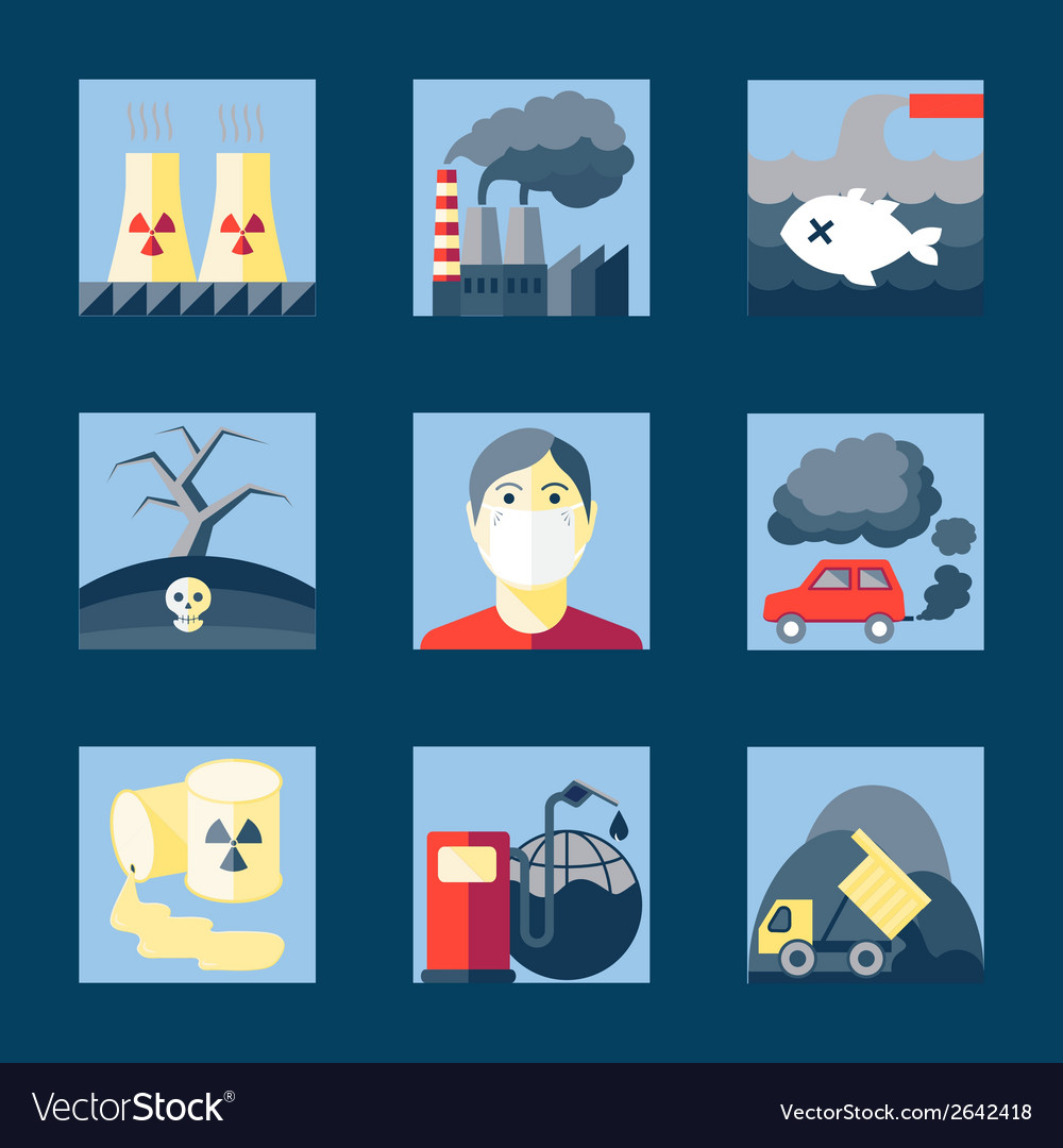 Set of pollution icons vector | Price: 1 Credit (USD $1)