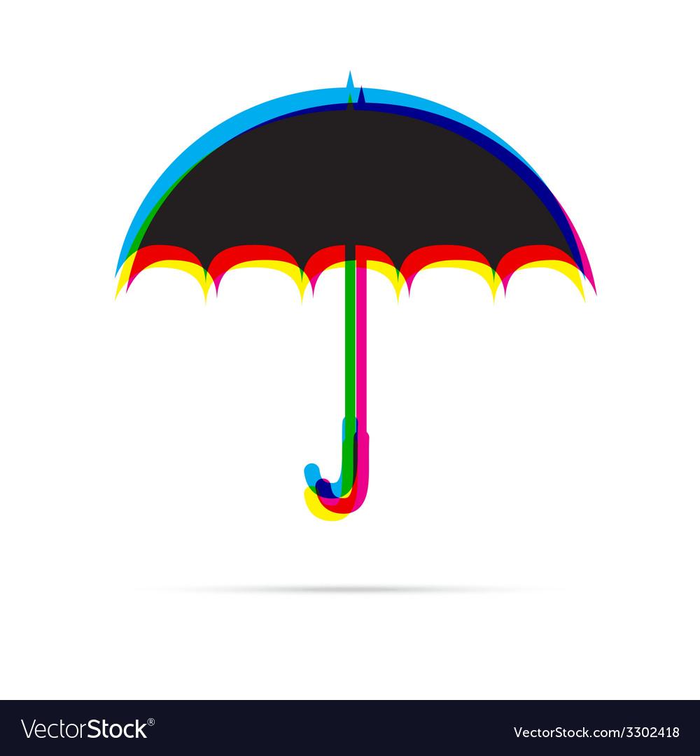 Umbrella icon with shadow vector | Price: 1 Credit (USD $1)