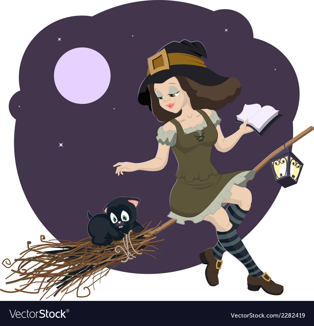 Beautiful young witch broom with cat vector | Price: 3 Credit (USD $3)