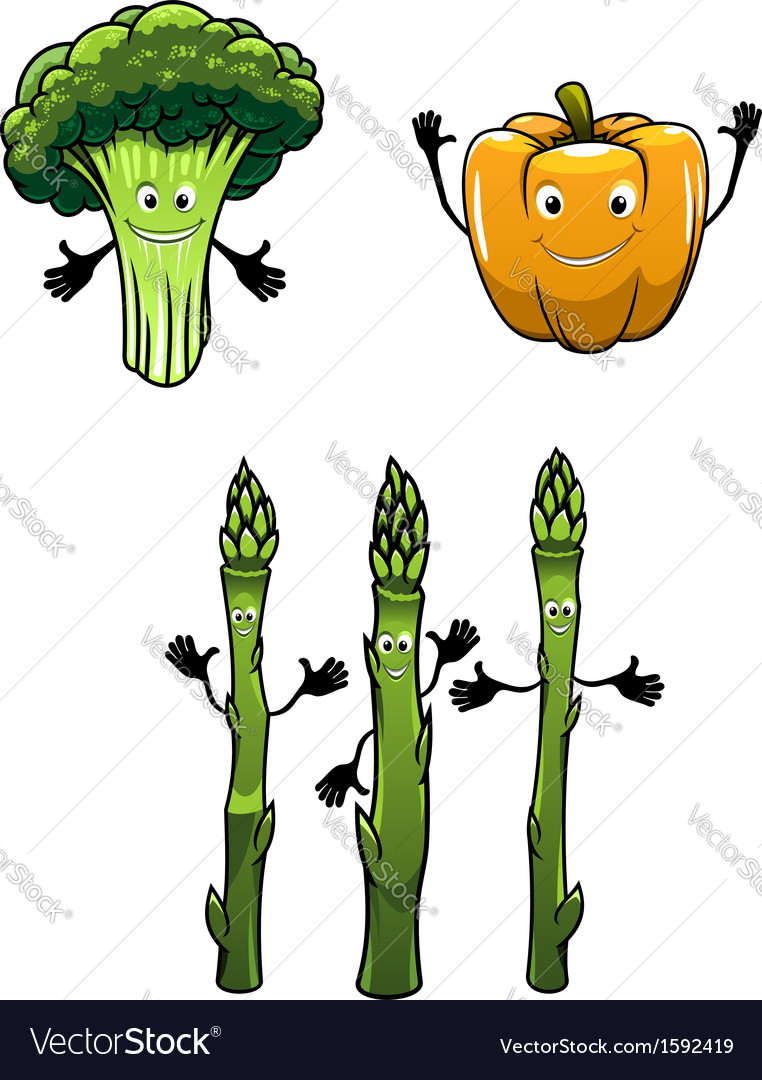 Broccoli spinach and pepper vegetables vector | Price: 1 Credit (USD $1)